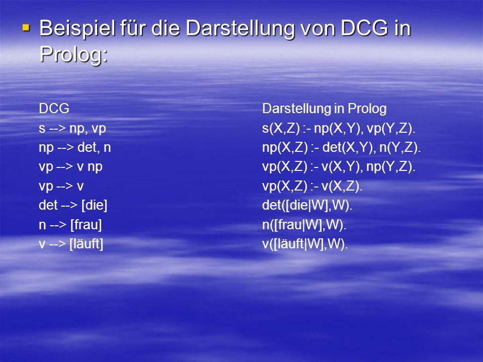 Beispiel für die Darstellung von DCG in Prolog: Beispiel für die Darstellung von DCG in Prolog: DCG Darstellung in Prolog s --> np, vp s(X,Z) :- np(X,Y), vp(Y,Z).