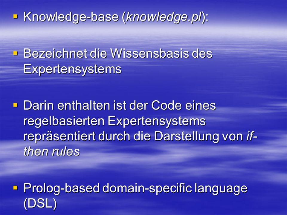 Knowledge-base (knowledge.pl): Knowledge-base (knowledge.pl): Bezeichnet die Wissensbasis des Expertensystems Bezeichnet die Wissensbasis des Expertensystems Darin enthalten ist der Code eines regelbasierten Expertensystems repräsentiert durch die Darstellung von if- then rules Darin enthalten ist der Code eines regelbasierten Expertensystems repräsentiert durch die Darstellung von if- then rules Prolog-based domain-specific language (DSL) Prolog-based domain-specific language (DSL)