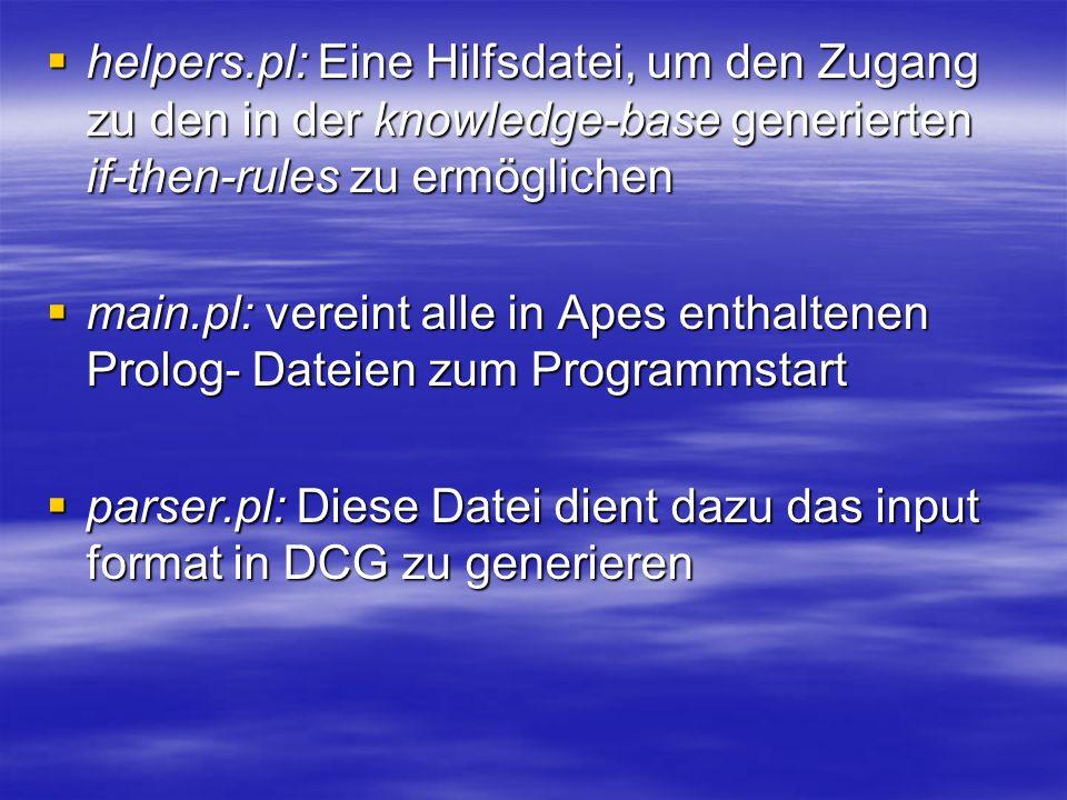 helpers.pl: Eine Hilfsdatei, um den Zugang zu den in der knowledge-base generierten if-then-rules zu ermöglichen helpers.pl: Eine Hilfsdatei, um den Zugang zu den in der knowledge-base generierten if-then-rules zu ermöglichen main.pl: vereint alle in Apes enthaltenen Prolog- Dateien zum Programmstart main.pl: vereint alle in Apes enthaltenen Prolog- Dateien zum Programmstart parser.pl: Diese Datei dient dazu das input format in DCG zu generieren parser.pl: Diese Datei dient dazu das input format in DCG zu generieren