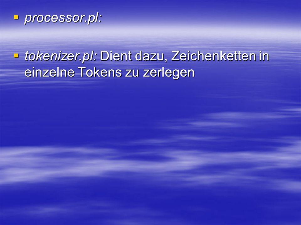 processor.pl: processor.pl: tokenizer.pl: Dient dazu, Zeichenketten in einzelne Tokens zu zerlegen tokenizer.pl: Dient dazu, Zeichenketten in einzelne Tokens zu zerlegen