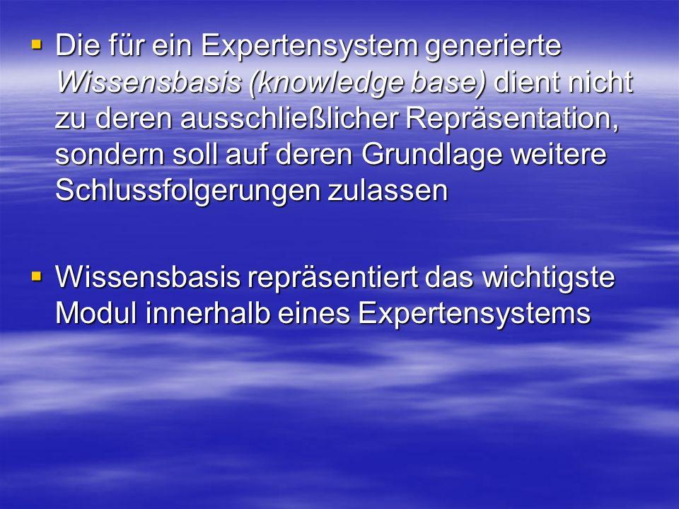 Die für ein Expertensystem generierte Wissensbasis (knowledge base) dient nicht zu deren ausschließlicher Repräsentation, sondern soll auf deren Grundlage weitere Schlussfolgerungen zulassen Die für ein Expertensystem generierte Wissensbasis (knowledge base) dient nicht zu deren ausschließlicher Repräsentation, sondern soll auf deren Grundlage weitere Schlussfolgerungen zulassen Wissensbasis repräsentiert das wichtigste Modul innerhalb eines Expertensystems Wissensbasis repräsentiert das wichtigste Modul innerhalb eines Expertensystems