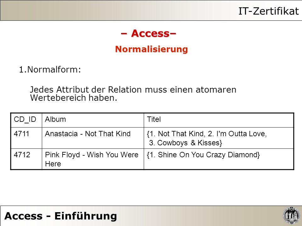 IT-Zertifikat Access - Einführung – Access– Normalisierung 1.Normalform: Jedes Attribut der Relation muss einen atomaren Wertebereich haben. CD_IDAlbu