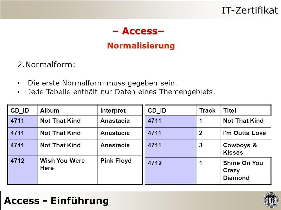 IT-Zertifikat Access - Einführung – Access– Normalisierung 2.Normalform: Die erste Normalform muss gegeben sein. Jede Tabelle enthält nur Daten eines