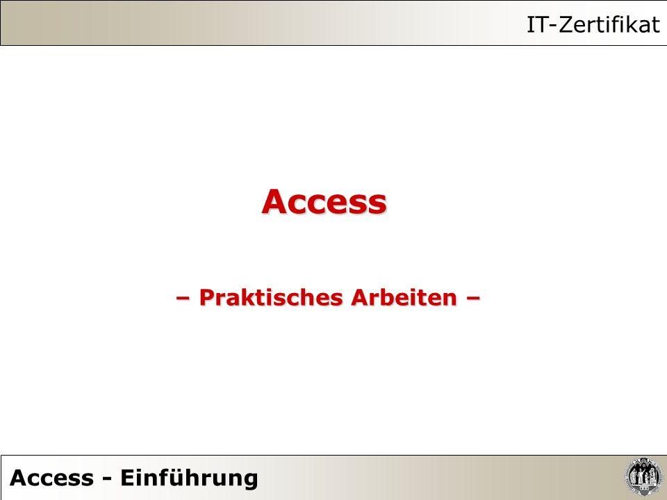 Access – Praktisches Arbeiten – IT-Zertifikat Access - Einführung