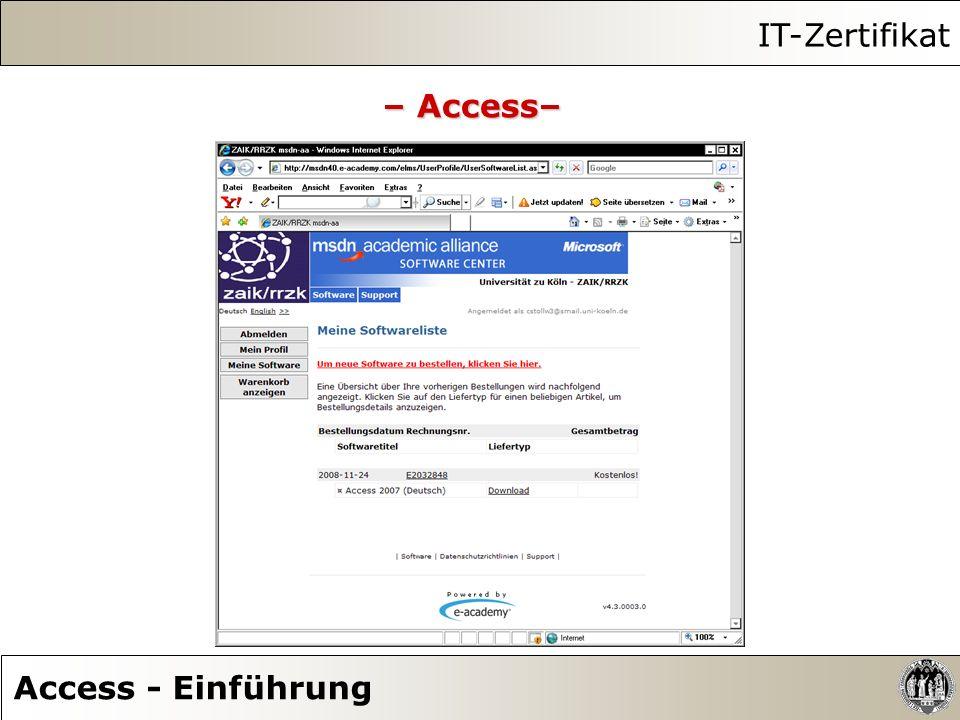 IT-Zertifikat Access - Einführung – Access–