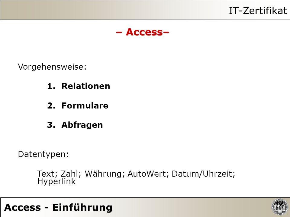 IT-Zertifikat Access - Einführung – Access– Vorgehensweise: 1.Relationen 2.Formulare 3.Abfragen Datentypen: Text; Zahl; Währung; AutoWert; Datum/Uhrze