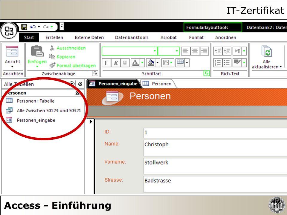 IT-Zertifikat Access - Einführung