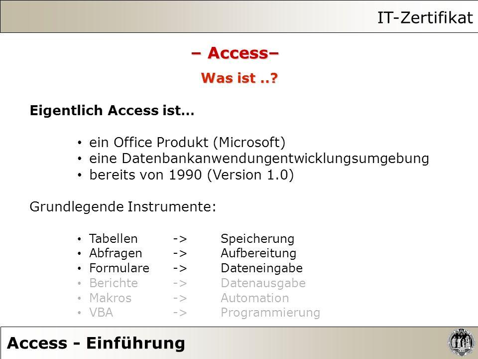 IT-Zertifikat Access - Einführung – Access– Was ist..? Eigentlich Access ist… ein Office Produkt (Microsoft) eine Datenbankanwendungentwicklungsumgebu