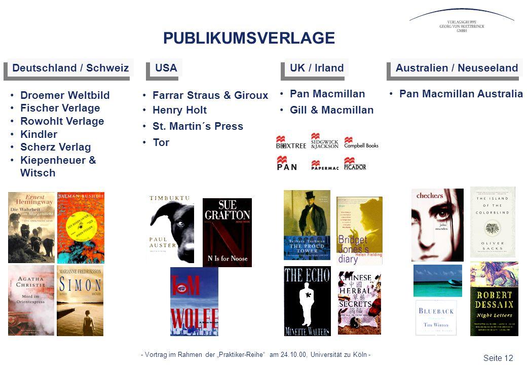 Seite 12 - Vortrag im Rahmen der Praktiker-Reihe am 24.10.00, Universität zu Köln - PUBLIKUMSVERLAGE Droemer Weltbild Fischer Verlage Rowohlt Verlage