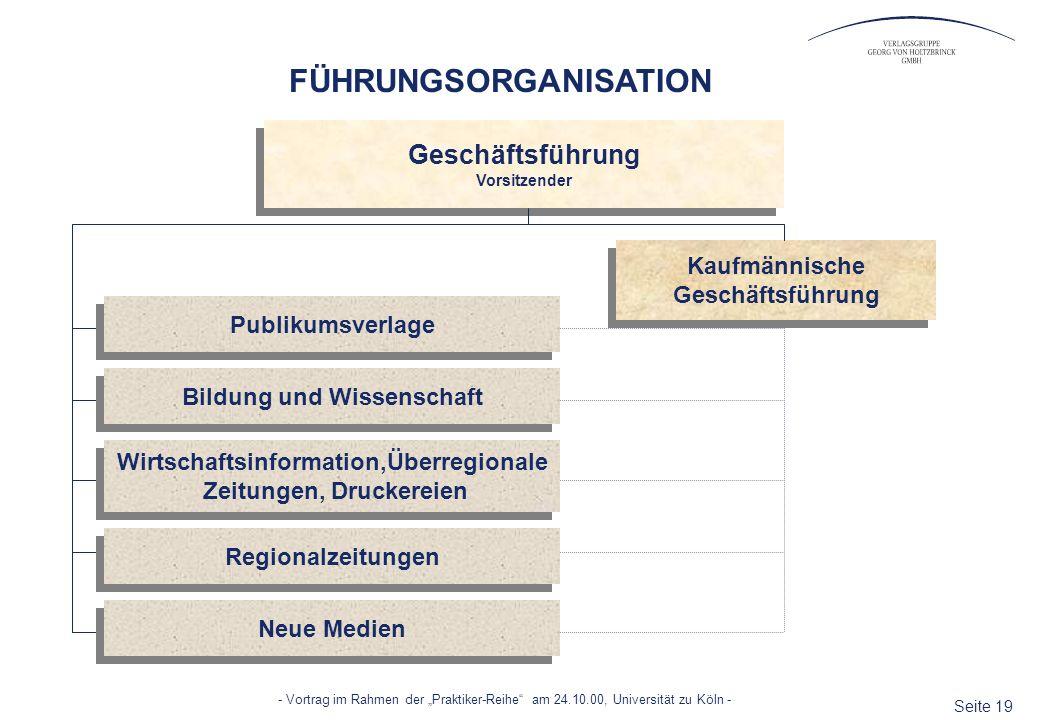 Seite 19 - Vortrag im Rahmen der Praktiker-Reihe am 24.10.00, Universität zu Köln - Geschäftsführung Vorsitzender Geschäftsführung Vorsitzender FÜHRUN