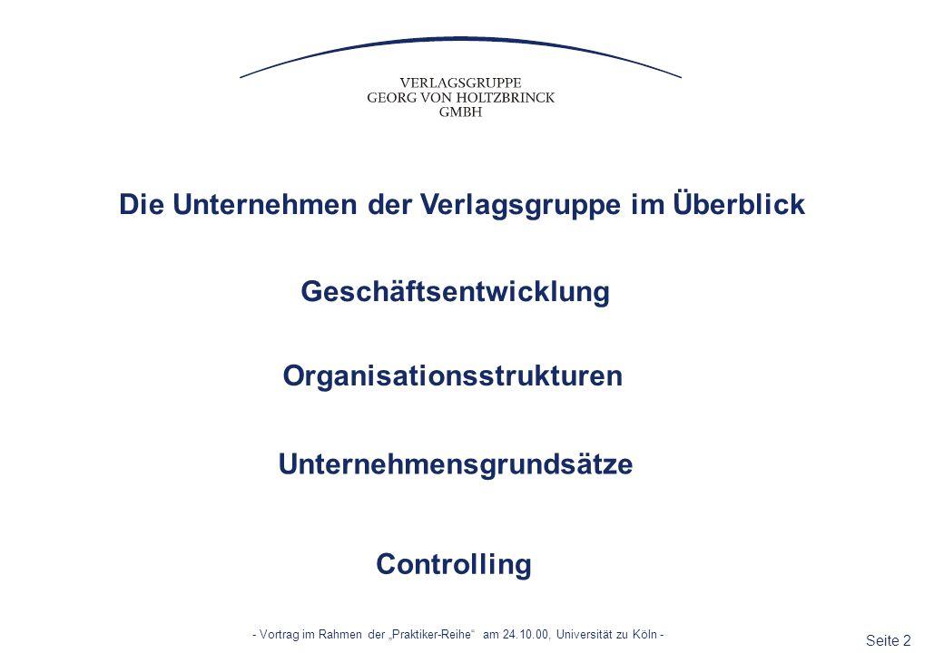 Seite 23 - Vortrag im Rahmen der Praktiker-Reihe am 24.10.00, Universität zu Köln - PFLICHT Budget- und Zweijahres-Trendplanung Monatliches Berichtswesen an Geschäftsführung Quartalsberichte an Aufsichtsrat Konzernkonsolidierung Abweichungsanalysen und Empfehlungen zum Handlungsbedarf Vorbereitung der Gesellschafterversammlungen mit den Firmen im integrierten Berichtswesen von der betrieblichen Erfolgsrechnung bis zum Finanzbedarf KONZERNCONTROLLING - Die Aufgabenschwerpunkte - (...