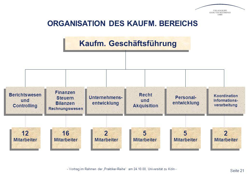 Seite 21 - Vortrag im Rahmen der Praktiker-Reihe am 24.10.00, Universität zu Köln - Kaufm. Geschäftsführung Berichtswesen und Controlling Finanzen Ste