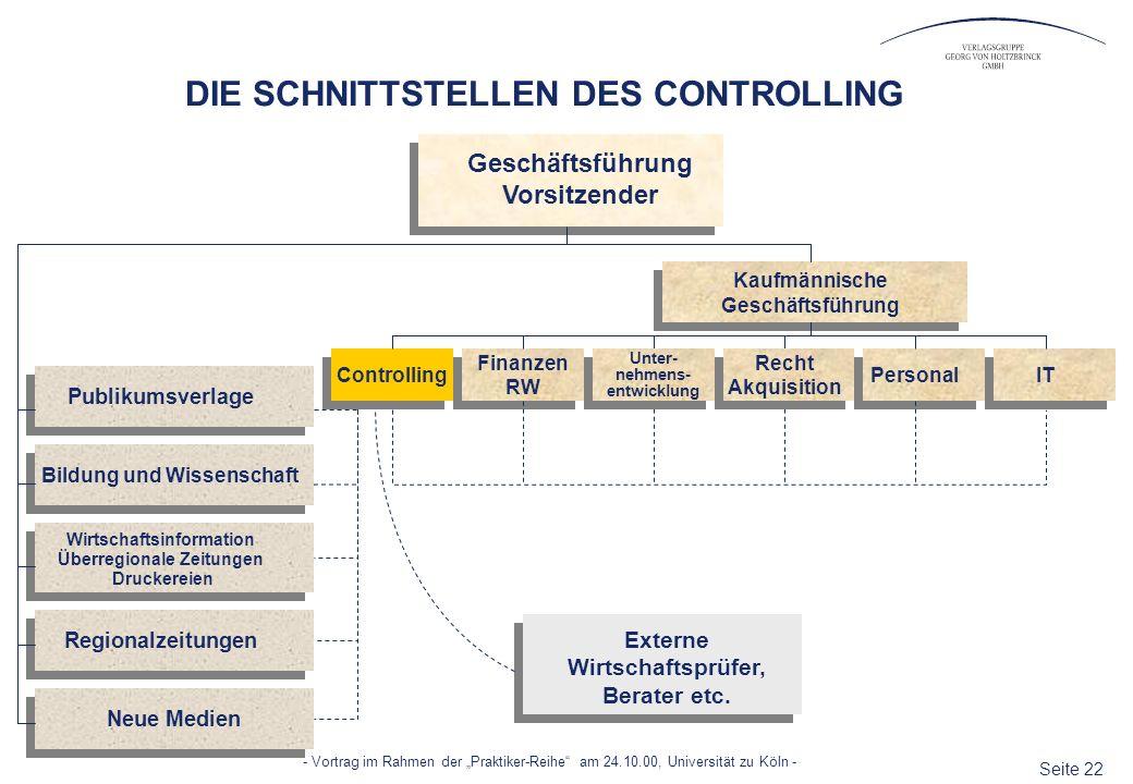 Seite 22 - Vortrag im Rahmen der Praktiker-Reihe am 24.10.00, Universität zu Köln - Kaufmännische Geschäftsführung Vorsitzender Bildung und Wissenscha