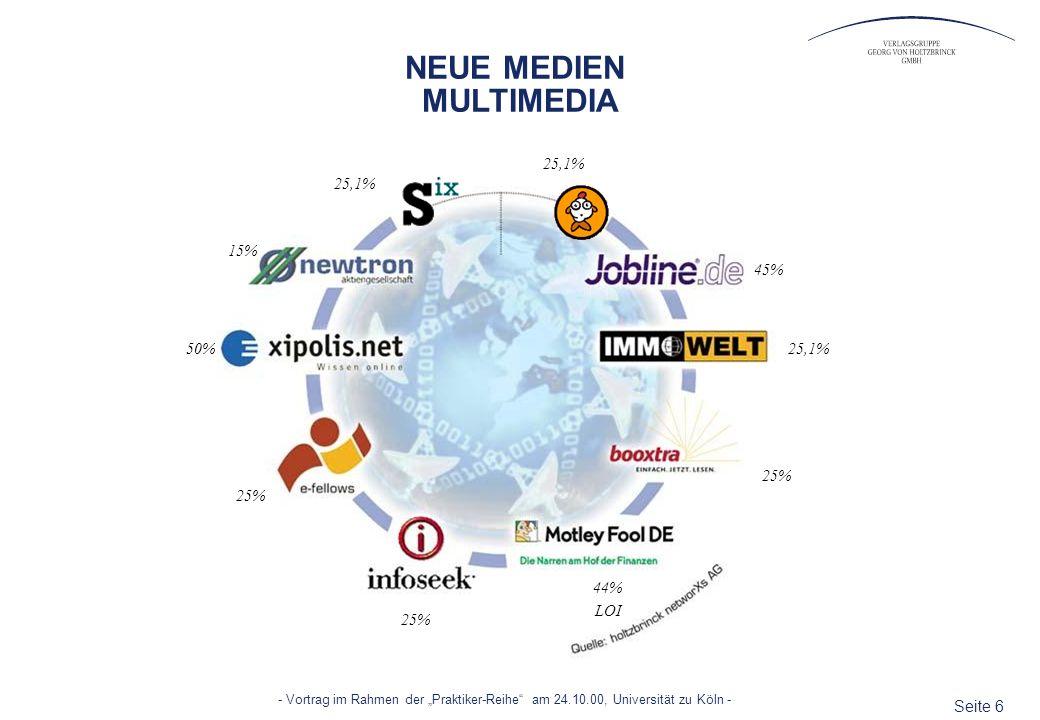 Seite 6 - Vortrag im Rahmen der Praktiker-Reihe am 24.10.00, Universität zu Köln - NEUE MEDIEN MULTIMEDIA 25,1% 25% 44% LOI 25% 50% 15% 45% 25,1%