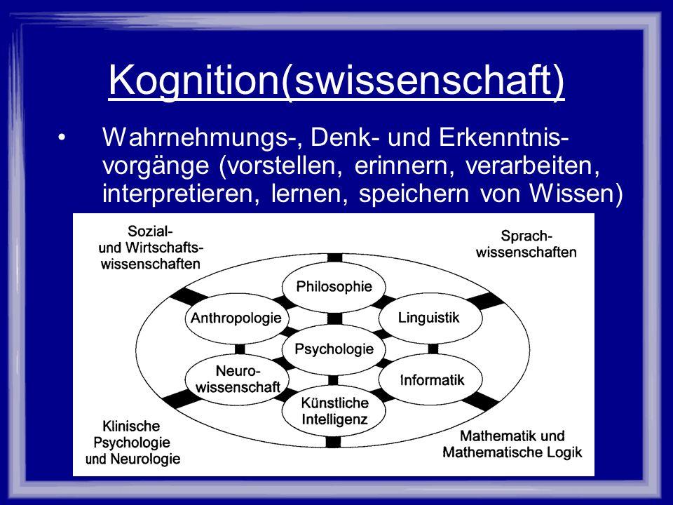 Kognition(swissenschaft) Wahrnehmungs-, Denk- und Erkenntnis- vorgänge (vorstellen, erinnern, verarbeiten, interpretieren, lernen, speichern von Wisse