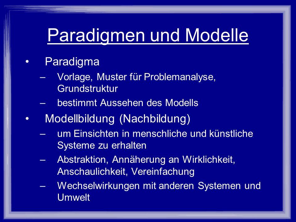 Paradigmen und Modelle Paradigma –Vorlage, Muster für Problemanalyse, Grundstruktur –bestimmt Aussehen des Modells Modellbildung (Nachbildung) –um Ein