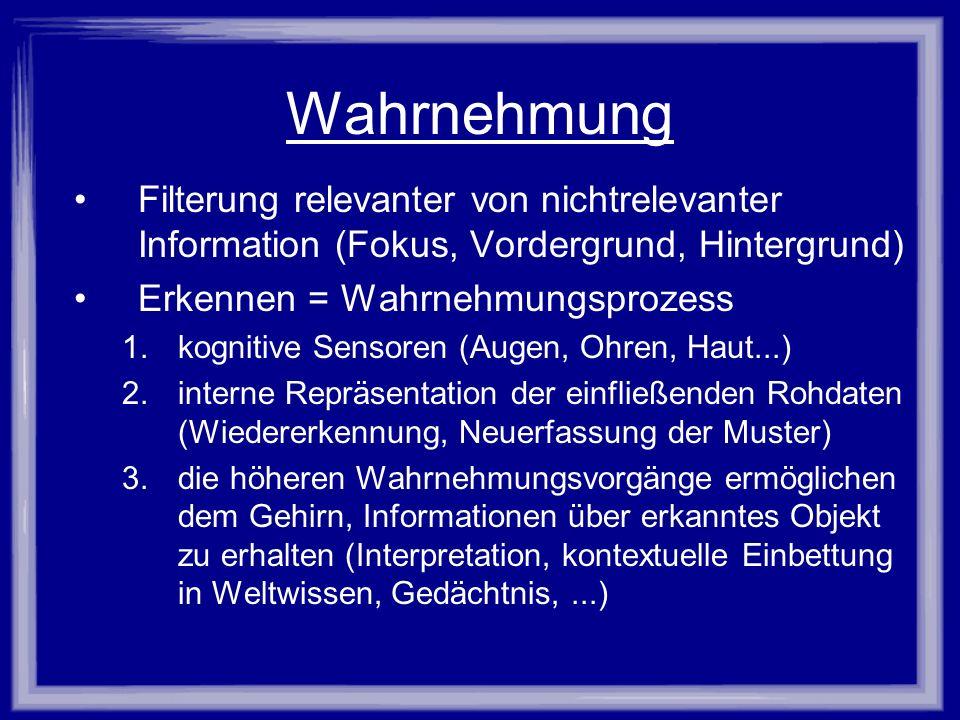 Wahrnehmung Filterung relevanter von nichtrelevanter Information (Fokus, Vordergrund, Hintergrund) Erkennen = Wahrnehmungsprozess 1.kognitive Sensoren