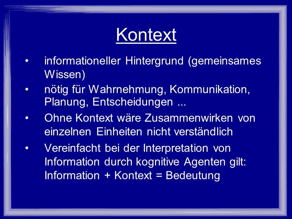 Kontext informationeller Hintergrund (gemeinsames Wissen) nötig für Wahrnehmung, Kommunikation, Planung, Entscheidungen... Ohne Kontext wäre Zusammenw
