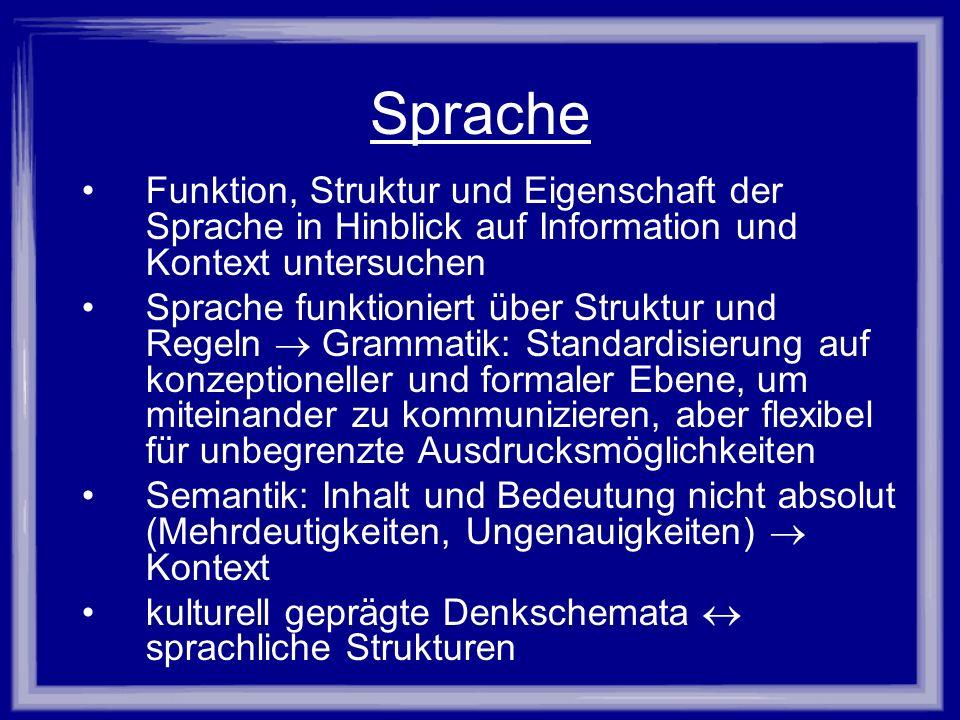 Sprache Funktion, Struktur und Eigenschaft der Sprache in Hinblick auf Information und Kontext untersuchen Sprache funktioniert über Struktur und Rege