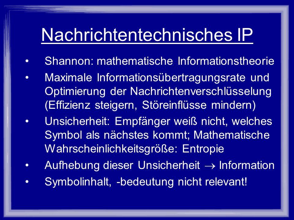 Nachrichtentechnisches IP Shannon: mathematische Informationstheorie Maximale Informationsübertragungsrate und Optimierung der Nachrichtenverschlüssel
