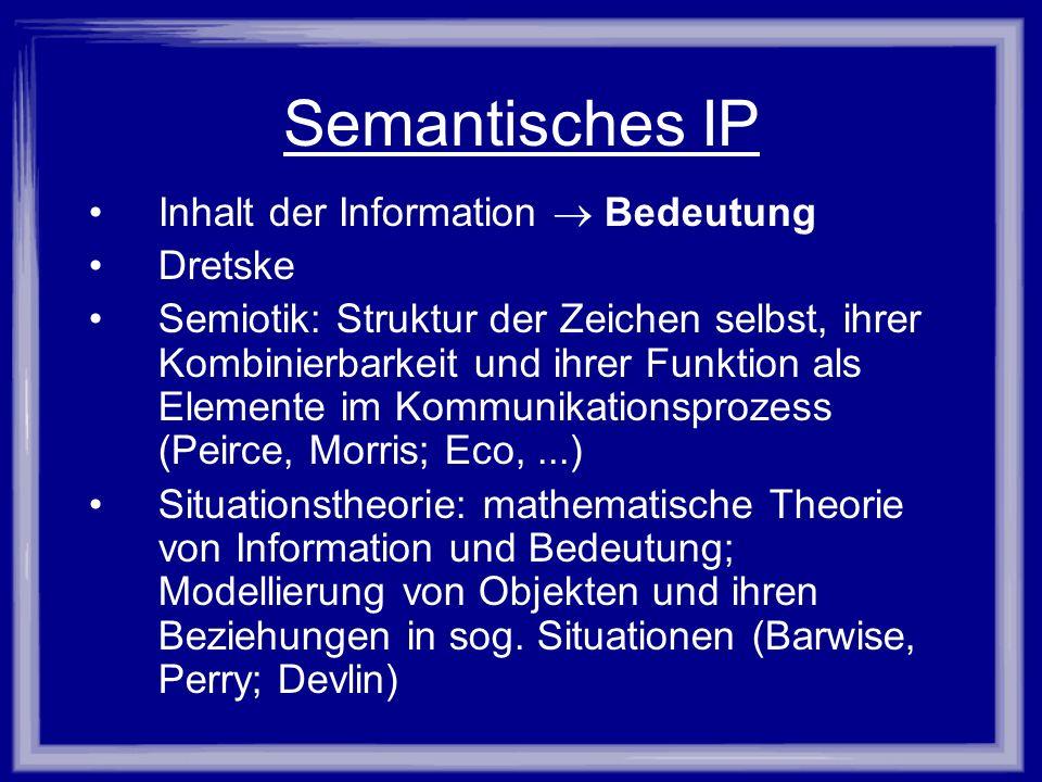 Semantisches IP Inhalt der Information Bedeutung Dretske Semiotik: Struktur der Zeichen selbst, ihrer Kombinierbarkeit und ihrer Funktion als Elemente