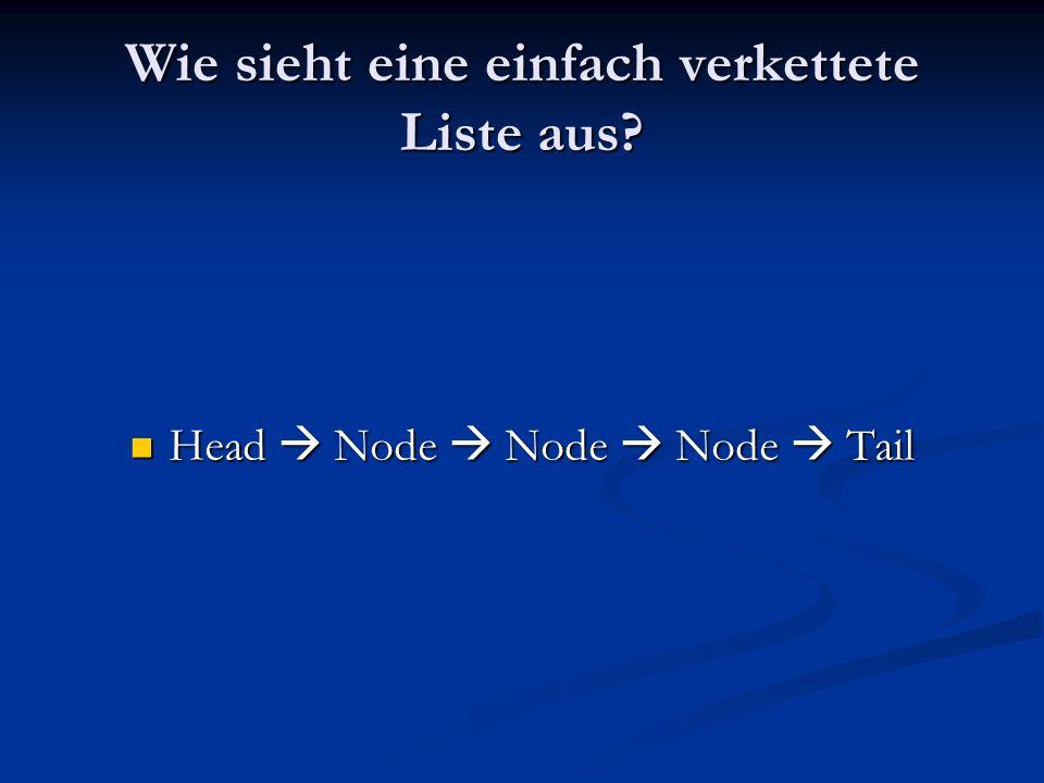 Wie sieht eine einfach verkettete Liste aus? Head Node Node Node Tail Head Node Node Node Tail