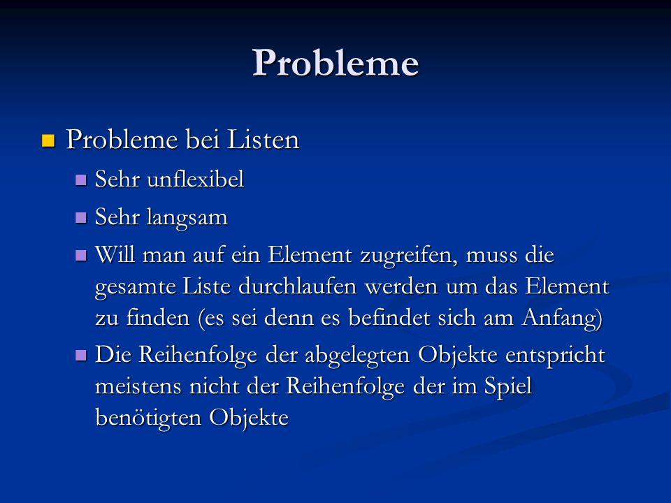Probleme Probleme bei Listen Probleme bei Listen Sehr unflexibel Sehr unflexibel Sehr langsam Sehr langsam Will man auf ein Element zugreifen, muss di