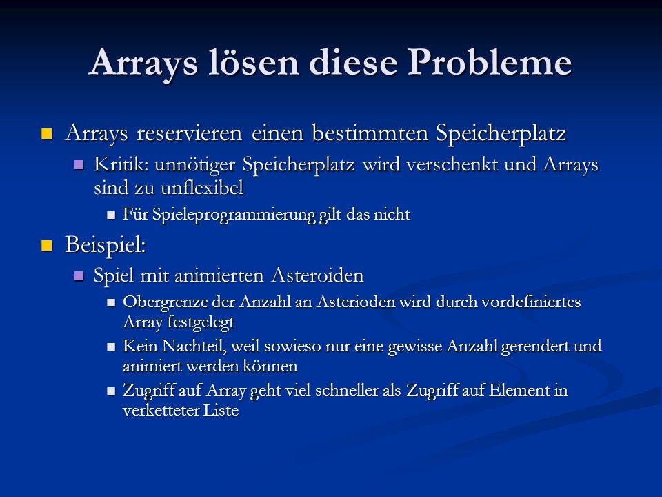 Arrays lösen diese Probleme Arrays reservieren einen bestimmten Speicherplatz Arrays reservieren einen bestimmten Speicherplatz Kritik: unnötiger Spei