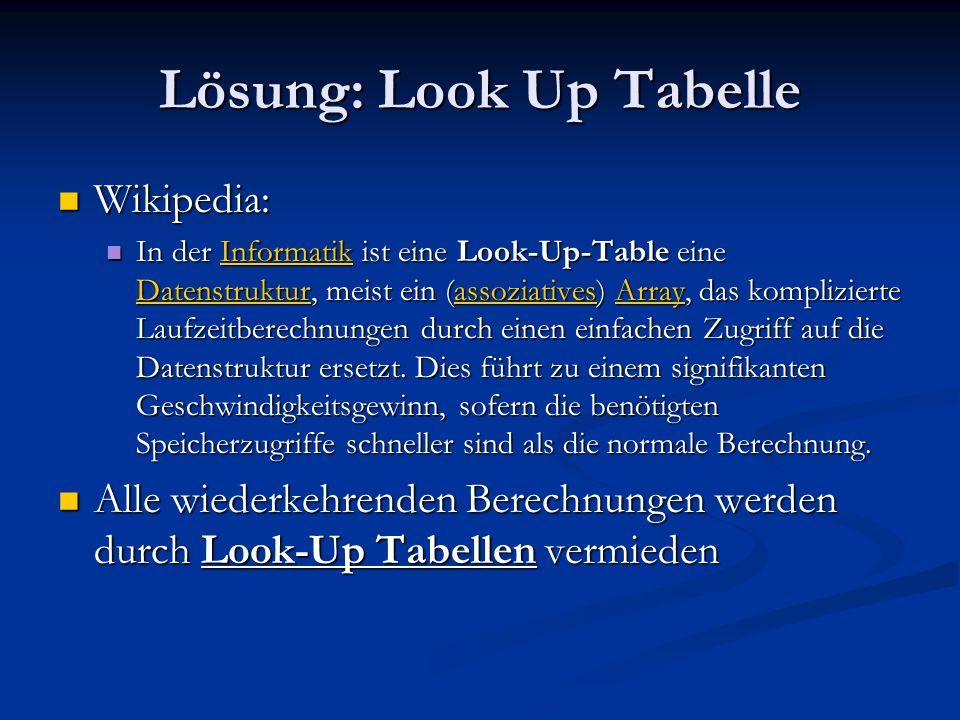 Lösung: Look Up Tabelle Wikipedia: Wikipedia: In der Informatik ist eine Look-Up-Table eine Datenstruktur, meist ein (assoziatives) Array, das kompliz