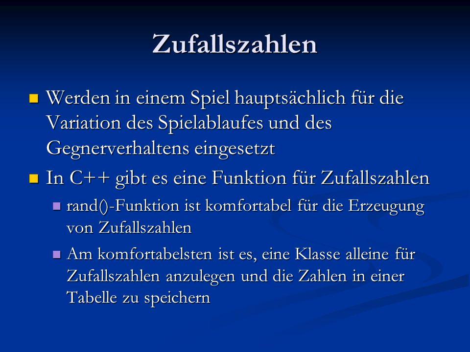 Aufruf der Zufallszahlenmethode und Initialisierung des Zufallsgenerators int main(void) int main(void) { // Initialisierung des Zufallsgenerators // Initialisierung des Zufallsgenerators srand(time(0)); srand(time(0)); // dann Aufruf der Zufallszahlenfunktion // dann Aufruf der Zufallszahlenfunktion cout << frnd(-5.0f,5.0f) << endl; cout << frnd(-5.0f,5.0f) << endl; }