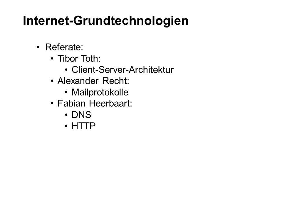 Internet-Grundtechnologien Referate: Tibor Toth: Client-Server-Architektur Alexander Recht: Mailprotokolle Fabian Heerbaart: DNS HTTP