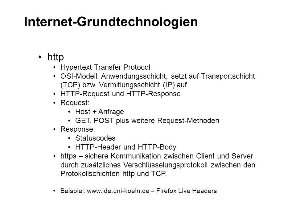 Internet-Grundtechnologien http Hypertext Transfer Protocol OSI-Modell: Anwendungsschicht, setzt auf Transportschicht (TCP) bzw. Vermitlungsschicht (I