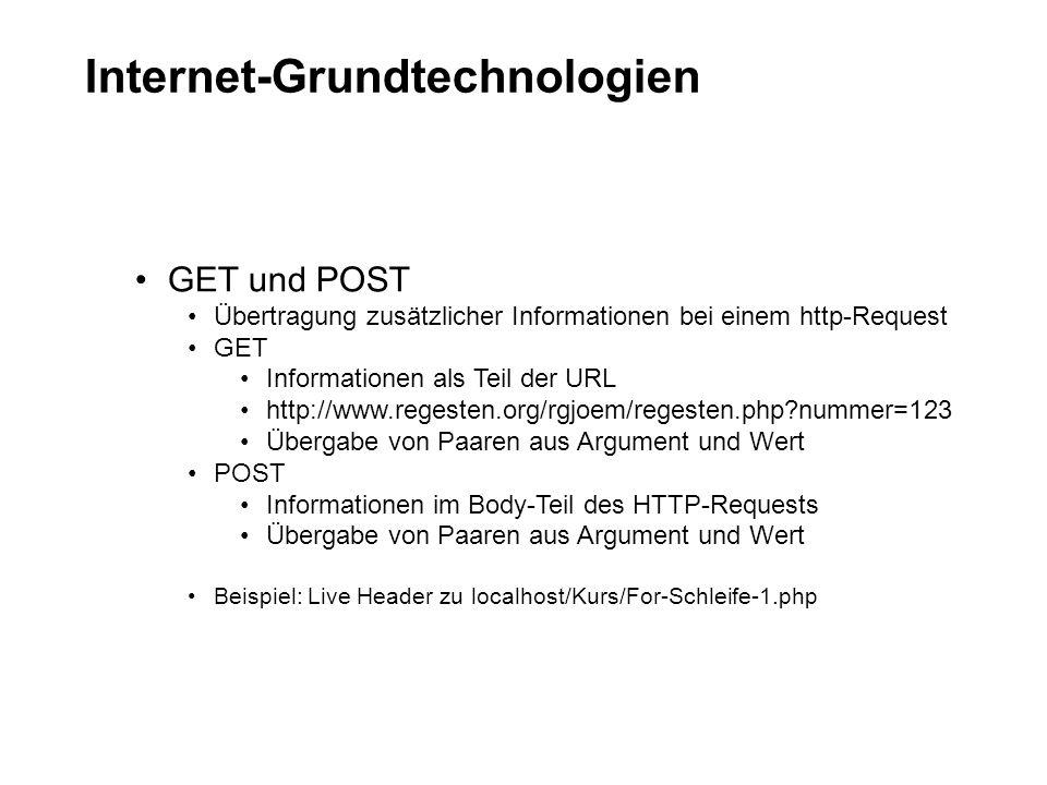 Internet-Grundtechnologien GET und POST Übertragung zusätzlicher Informationen bei einem http-Request GET Informationen als Teil der URL http://www.regesten.org/rgjoem/regesten.php?nummer=123 Übergabe von Paaren aus Argument und Wert POST Informationen im Body-Teil des HTTP-Requests Übergabe von Paaren aus Argument und Wert Beispiel: Live Header zu localhost/Kurs/For-Schleife-1.php