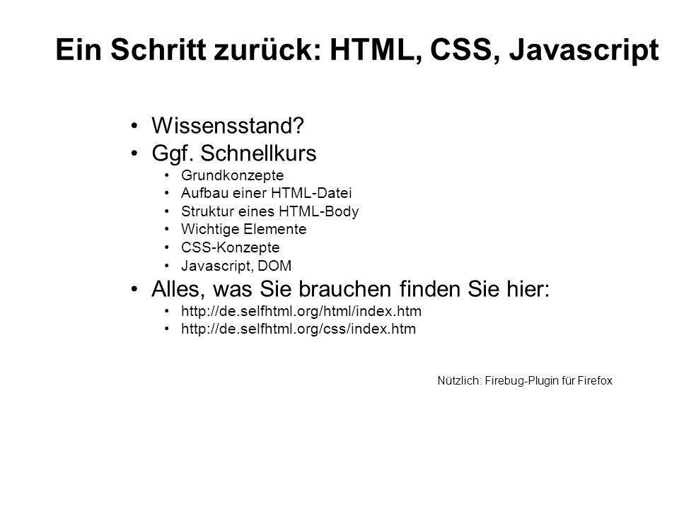 Ein Schritt zurück: HTML, CSS, Javascript Wissensstand? Ggf. Schnellkurs Grundkonzepte Aufbau einer HTML-Datei Struktur eines HTML-Body Wichtige Eleme