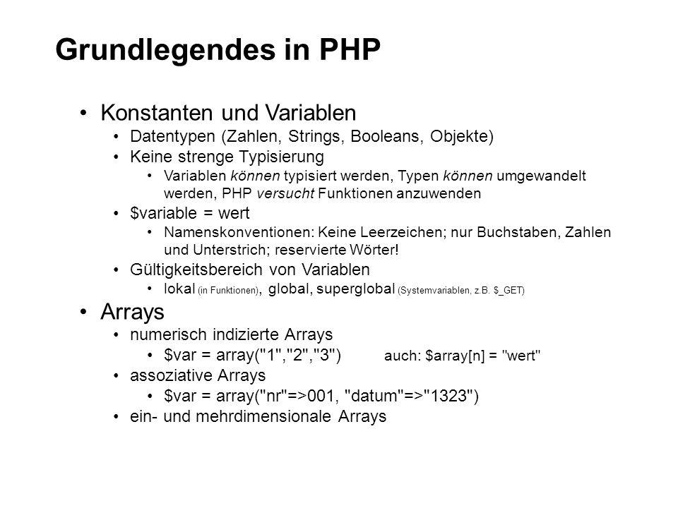 Grundlegendes in PHP Konstanten und Variablen Datentypen (Zahlen, Strings, Booleans, Objekte) Keine strenge Typisierung Variablen können typisiert werden, Typen können umgewandelt werden, PHP versucht Funktionen anzuwenden $variable = wert Namenskonventionen: Keine Leerzeichen; nur Buchstaben, Zahlen und Unterstrich; reservierte Wörter.