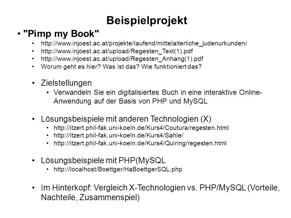 Beispielprojekt Pimp my Book http://www.injoest.ac.at/projekte/laufend/mittelalterliche_judenurkunden/ http://www.injoest.ac.at/upload/Regesten_Text(1).pdf http://www.injoest.ac.at/upload/Regesten_Anhang(1).pdf Worum geht es hier.