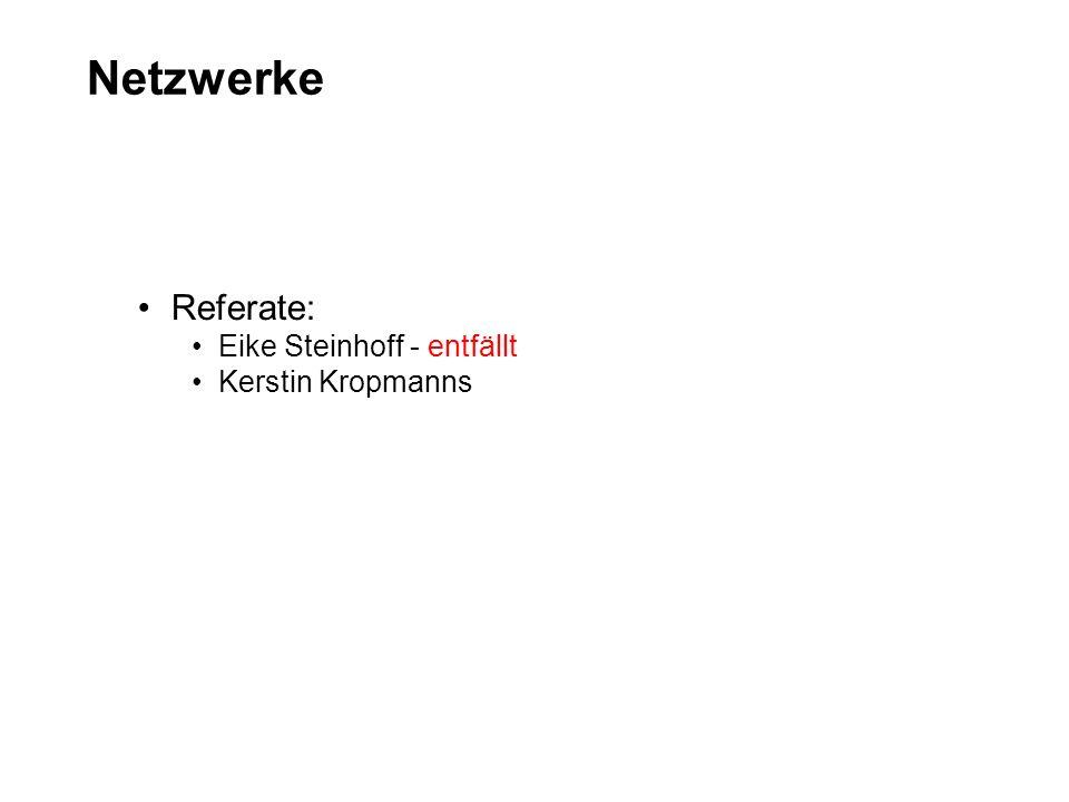 Netzwerke Referate: Eike Steinhoff - entfällt Kerstin Kropmanns