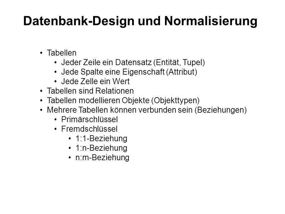 Datenbank-Design und Normalisierung Tabellen Jeder Zeile ein Datensatz (Entität, Tupel) Jede Spalte eine Eigenschaft (Attribut) Jede Zelle ein Wert Tabellen sind Relationen Tabellen modellieren Objekte (Objekttypen) Mehrere Tabellen können verbunden sein (Beziehungen) Primärschlüssel Fremdschlüssel 1:1-Beziehung 1:n-Beziehung n:m-Beziehung