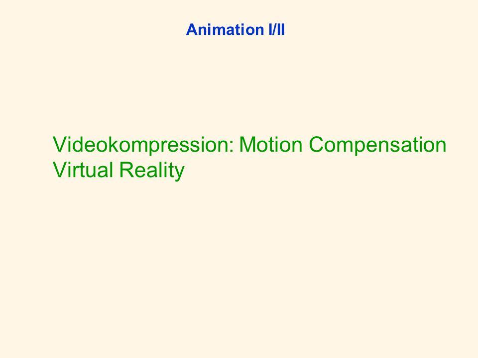 Animation I/II Videokompression: Motion Compensation Virtual Reality