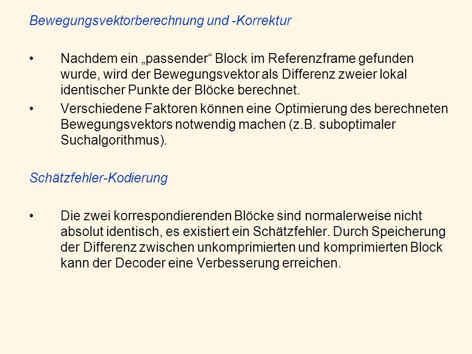 Bewegungsvektorberechnung und -Korrektur Nachdem ein passender Block im Referenzframe gefunden wurde, wird der Bewegungsvektor als Differenz zweier lo