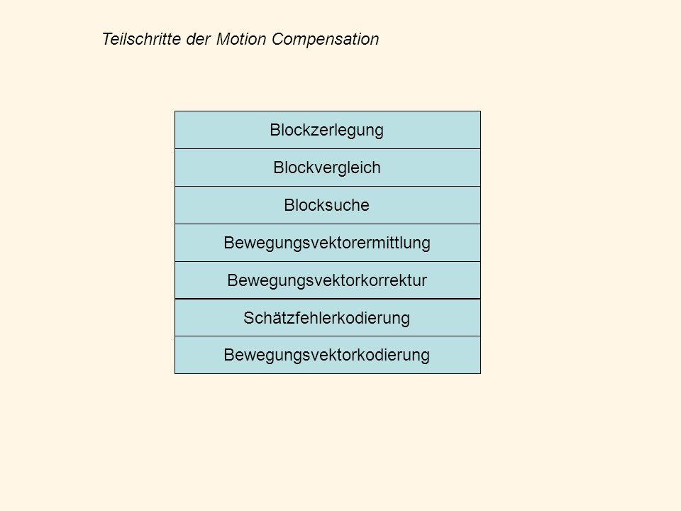 Blockzerlegung Blockvergleich Blocksuche Bewegungsvektorermittlung Bewegungsvektorkorrektur Schätzfehlerkodierung Bewegungsvektorkodierung Teilschritt