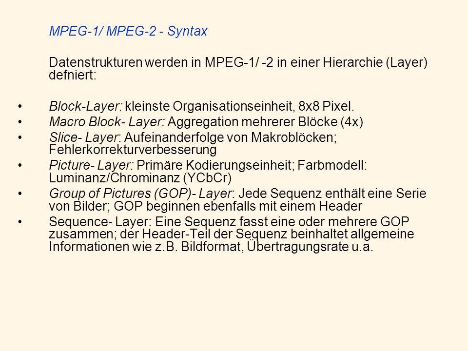 MPEG-1/ MPEG-2 - Syntax Datenstrukturen werden in MPEG-1/ -2 in einer Hierarchie (Layer) defniert: Block-Layer: kleinste Organisationseinheit, 8x8 Pix
