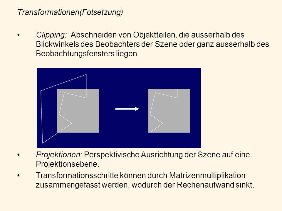 Transformationen(Fotsetzung) Clipping: Abschneiden von Objektteilen, die ausserhalb des Blickwinkels des Beobachters der Szene oder ganz ausserhalb de