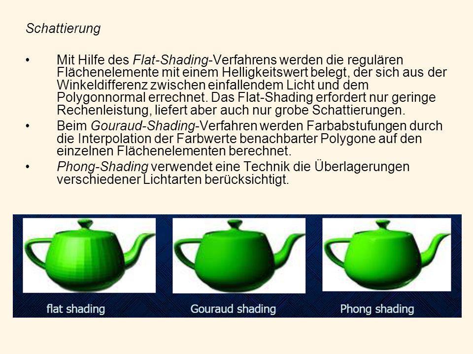 Schattierung Mit Hilfe des Flat-Shading-Verfahrens werden die regulären Flächenelemente mit einem Helligkeitswert belegt, der sich aus der Winkeldiffe