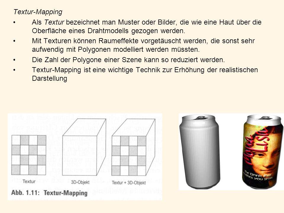Textur-Mapping Als Textur bezeichnet man Muster oder Bilder, die wie eine Haut über die Oberfläche eines Drahtmodells gezogen werden. Mit Texturen kön