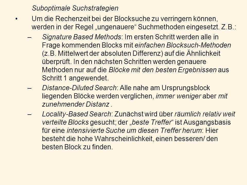Suboptimale Suchstrategien Um die Rechenzeit bei der Blocksuche zu verringern können, werden in der Regel ungenauere Suchmethoden eingesetzt. Z.B.: –S