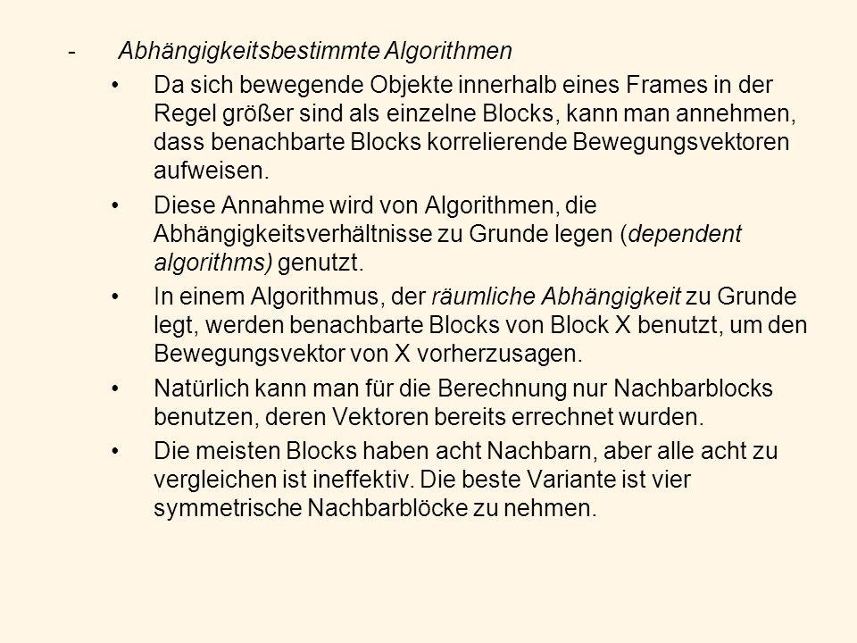 -Abhängigkeitsbestimmte Algorithmen Da sich bewegende Objekte innerhalb eines Frames in der Regel größer sind als einzelne Blocks, kann man annehmen,
