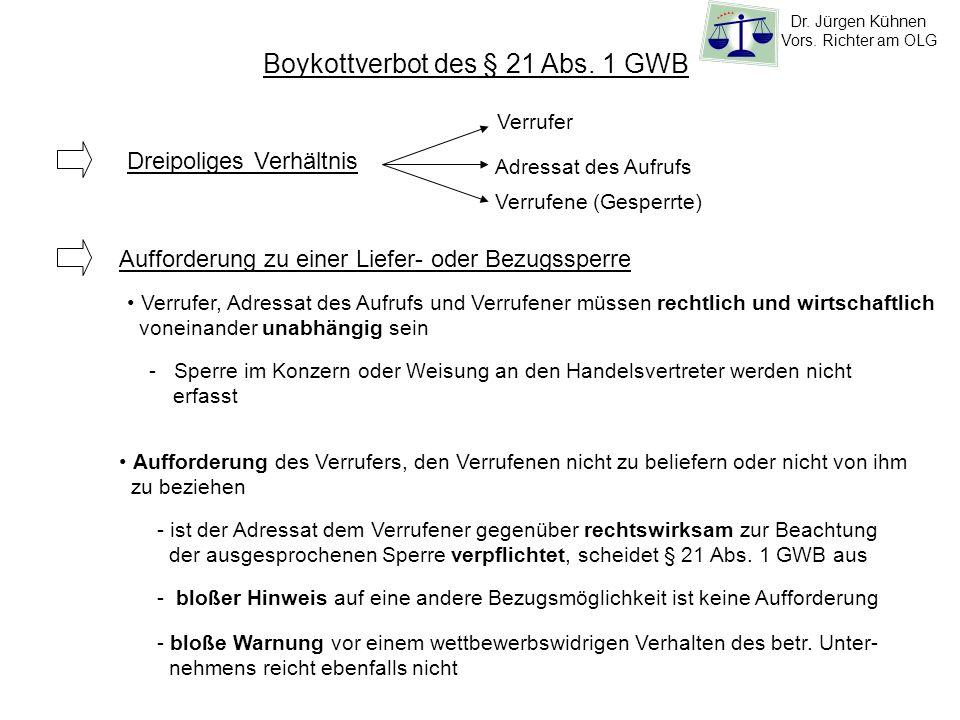 Boykottverbot des § 21 Abs. 1 GWB Dreipoliges Verhältnis Verrufer Adressat des Aufrufs Verrufene (Gesperrte) Aufforderung zu einer Liefer- oder Bezugs