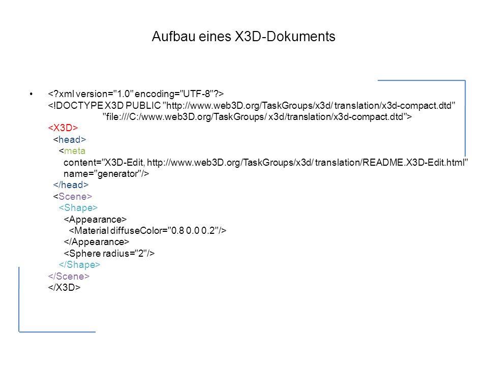 Aufbau eines X3D-Dokuments