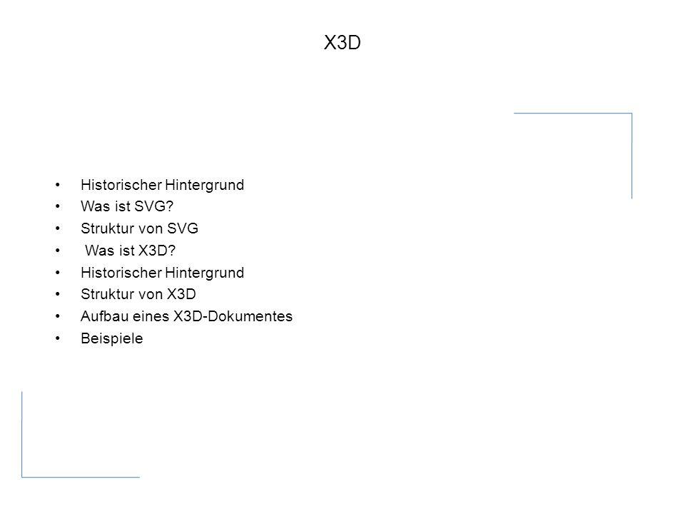 X3D Historischer Hintergrund Was ist SVG. Struktur von SVG Was ist X3D.